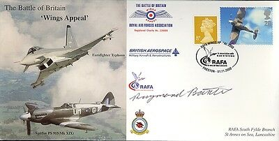 RAFA RAF Battle of Britain Wings cover signed WWII WW2 pilot RAYMOND BAXTER
