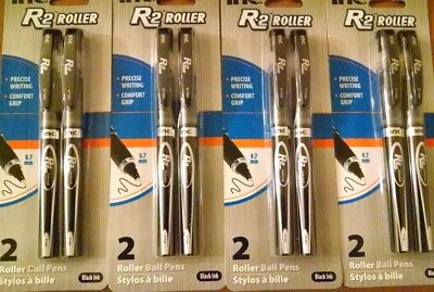 Inc R-2 Comfort Grip Rollerball Pens 0.7mm BLACK Ink 4 Packs of 2