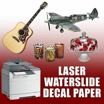 "Premium LASER Waterslide Decal Paper - WHITE - 8.5"" x 11""  25 SHEETS"