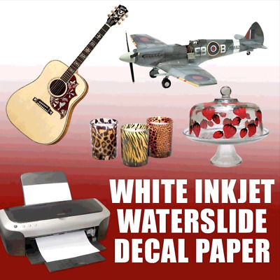 50 sheets INKJET WHITE  Waterslide Transfer Decal Paper 8.5 x 11