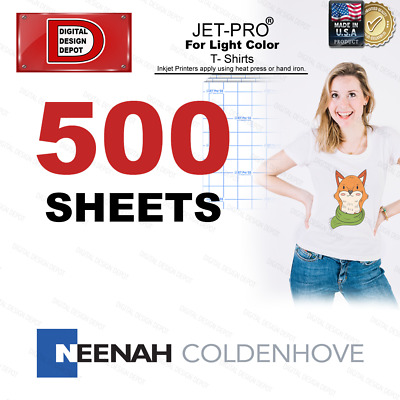 JET-PRO® inkjet Heat Transfer Paper 8.5x11 500 iron on heat press