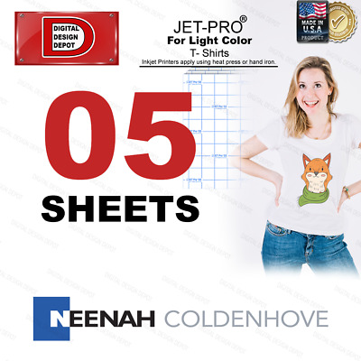JET-PRO SofStretch inkjet Heat Transfer Paper 8.5x11 --- 5 SHEETS - FREE SHIP