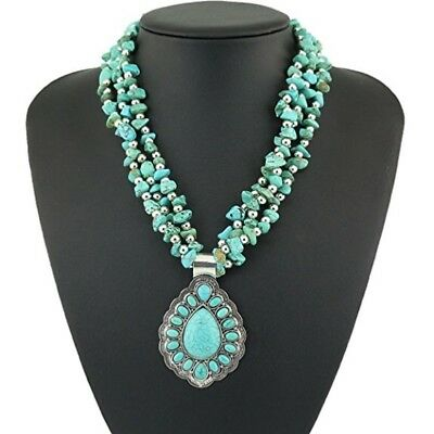 Jianxi Vintage National Style Hand Made Artificial Compressed Turquoise Necklace