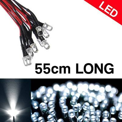 20pc 8mm LED BLUE Lamp 55cm Pre Wired Diffused Emitting Diode Light Bulb 9-12V