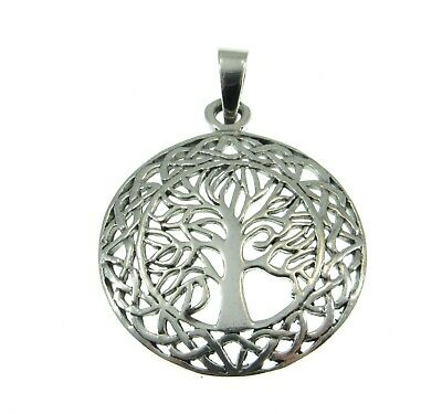 Handcrafted 925 Sterling Silver Celtic Wreath Tree of Life Yggdrasil Pendant