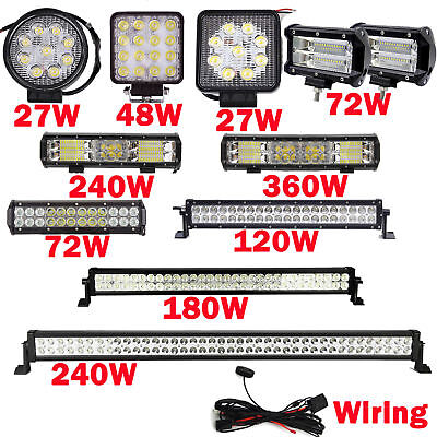 LED Work Light Bar Spot Flood Roof Lights Driving Lamp Offroad Car SUV ATV 360W