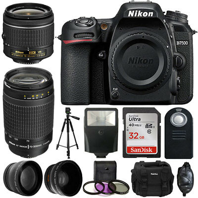Nikon D7500 Digital Camera + 18-55mm VR + 70-300mm + Great Value Accessory Kit