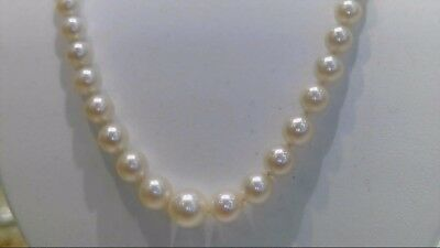 "20"" 14K White Gold Graduated Synthetic Round Pearl Necklace (B2-1079394-1)"
