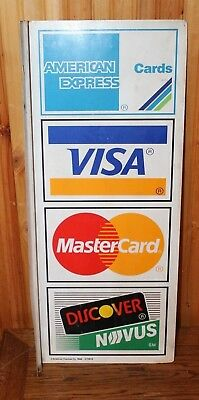 """Vintage American Express, Visa, Master Card, Discover Double Sided Sign 26"""" X 11"""