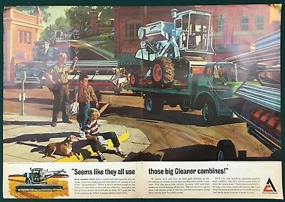 1967 ALLIS CHALMERS GLEANER COMBINE. Large, original 2-page color centerfold ad