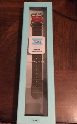TOMS Watch Band For Apple Watch 38mm Size Olive Green Color New Free Shipping