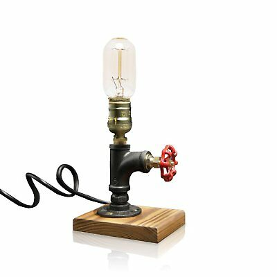Vintage Industrial Loft Retro Iron Style Pipe Desk Table Lamp with Wooden Base