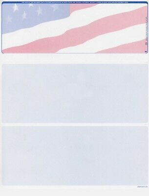 500 Blank Security Check Paper - Checks on Top (American Flag)