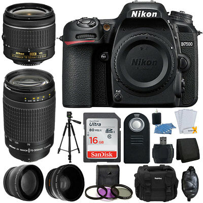 Nikon D7500 Digital Camera + 4 Lens: 18-55mm VR + 70-300mm + Top Value Pro Kit