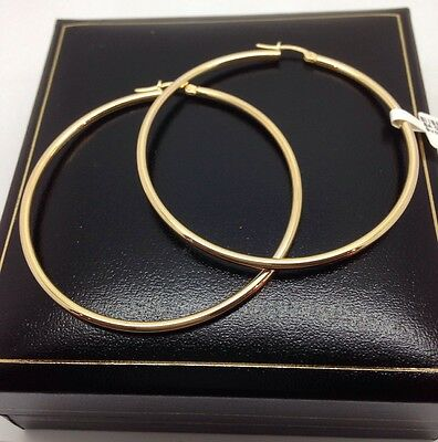 Beautiful Large 9ct Gold Hoop Earrings Uk Hallmark 4g 53mm X 2mm Rrp