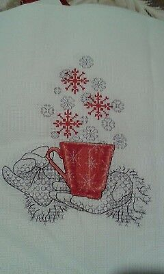 Christmas Cheer Is A Completed Cross Stitch + Black Work Embroidery, Unframed