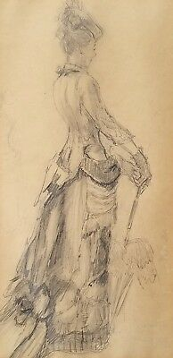 Excellent 19th c. Pencil Drawing of a Victorian Woman, French School