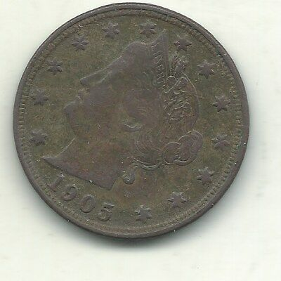 A Vintage Vf/xf Details 1905 Liberty Head V Nickel Coin-Apr278