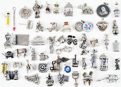 Sterling Silver Vintage Charm Bracelet Charms Moving Birdcage Pincushion Toaster