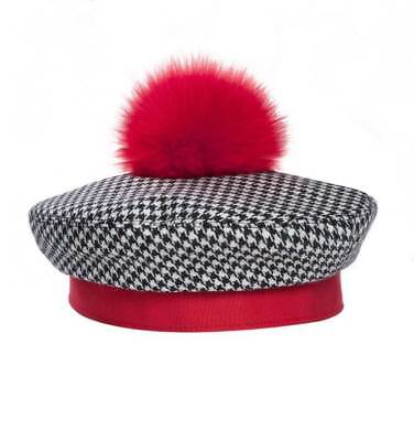 52757162c90 Eric Javits Designer Women s Headwear Hat - Beret With Pom Pom -Black Check  Red