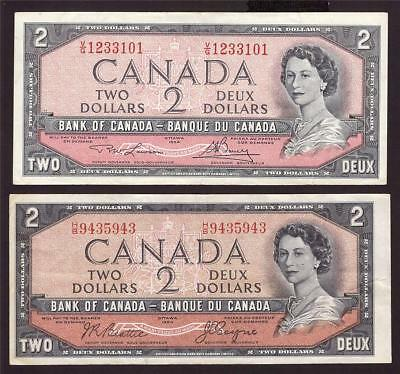 1954 Bank of Canada devils face $2 and modified $2 banknote 1 of each VF25+