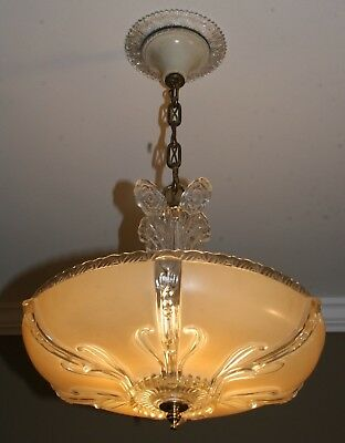 "Antique beige glass 14"" shade art deco light fixture ceiling chandelier 1940s"