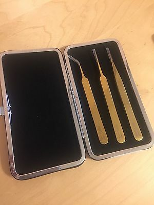Gold  tweezer set 3 tweezers + magnet Clutch case