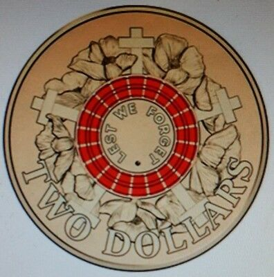 RED 2015 Anzac $2 Coin Two Dollar Coin Lest We Forget - UNC