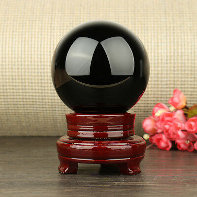 100MM Natural Black Obsidian Sphere Large Crystal Ball Healing Stone + Stand US