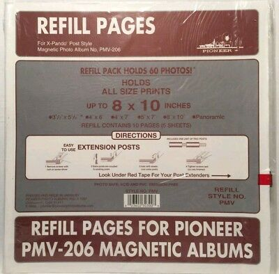 NEW 5 Refill Pages for Pioneer PMV-206 Magnetic Photo Albums Most Sizes X-Pando