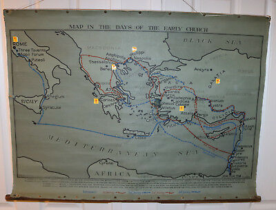 Antique Wall Chart 'map In The Days Of The Early Church' Showing 4 Journeys