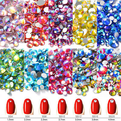 1Pack AB Color Mixed SS4-SS20 Nail Art Rhinestones Flatback Glass Crystal Gems