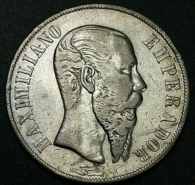 1866 MO Mexico 1 Un Peso Empire Of Maximilian Second Empire World Silver Coin