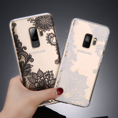For Samsung Galaxy S9 S8 Plus S7 Slim Mandala Pattern Clear Soft TPU Case Cover