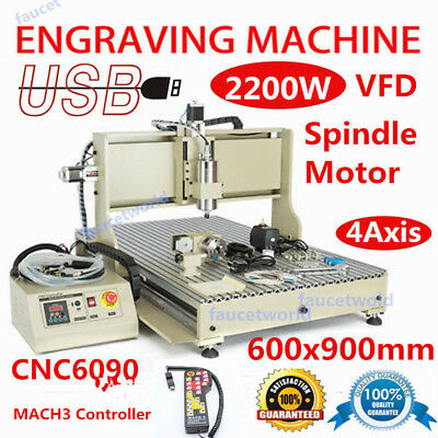 2.2KW Water Cooling Metal Wood CNC 6090 Router Engraving Machine with handwheels
