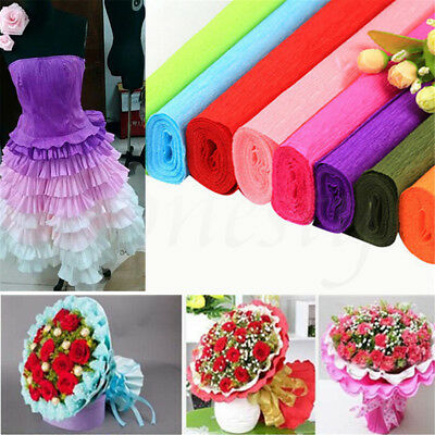 DIY Flower Wrapping Packing Crepe Papers Handmade Materials Crinkled 250x50cm