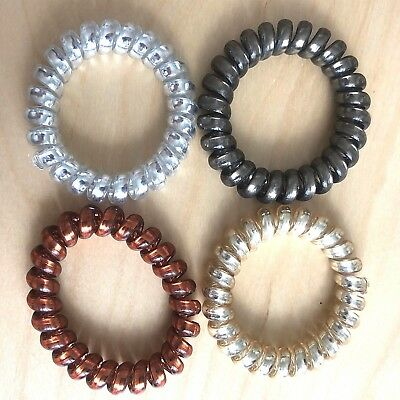 X4 Multi Color Hair Tie Rubber Band Rope Elastic Spiral Bungee TPU Ponytail Girl