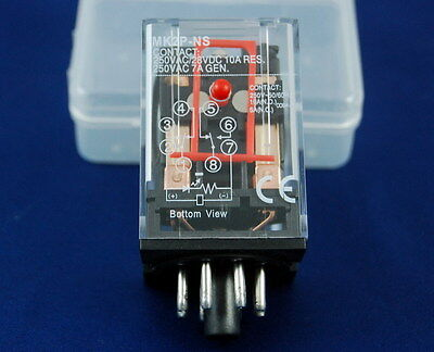1PC PLUG IN RELAY 8PIN 2P FITS MK-2PNS DC 6V with testing button and indicator