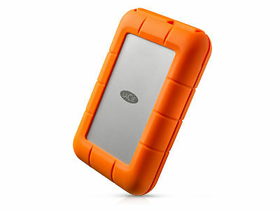 LaCie Rugged USB-C, 2 TB mobile Festplatte, silber-orange