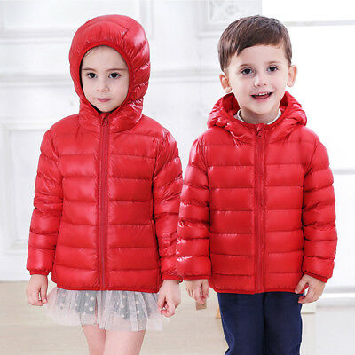 Kids Down Puffer Jacket Short Parka Hooded Hat Coat Children 2-8 Years Old
