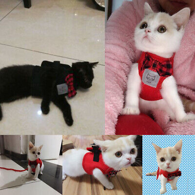 Mesh Cat Dog Harness and Leash Cute Bowtie Kitten Walking Jacket Red Black