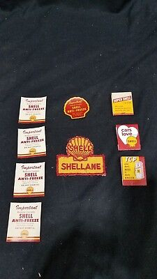 Shell Oil lot of 3 matchbooks, 4 stickers, and Shellane Cloth Patch