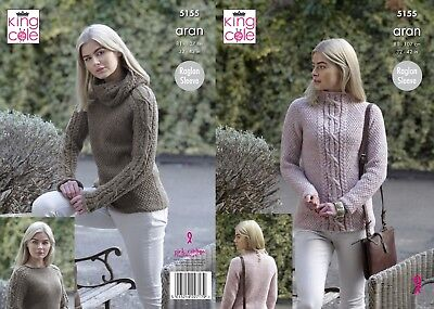 Kingcole 5155 Ladies Aran KNITTING PATTERN - 32-42in Not the finished items