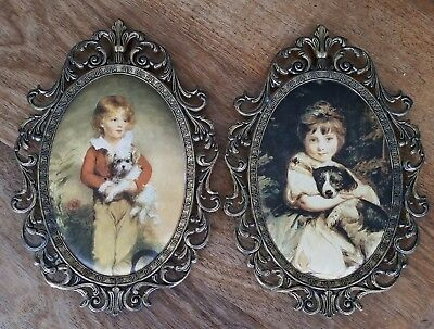 2 x Ornate vintage metal picture frames made in Italy silk prints top condition