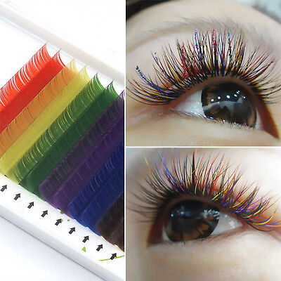 Individual Multi-Colored Eyelash Extensions Rainbow Color Lashes 8-12mm Hot ALL