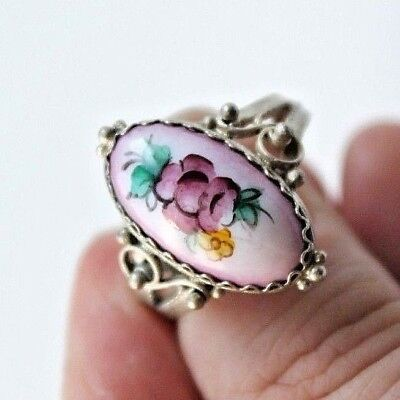 Russia Rostov enamel finift enamel filigree Ring German silver #612 Size 7