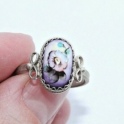 Russia Rostov enamel finift enamel filigree Ring German silver #616