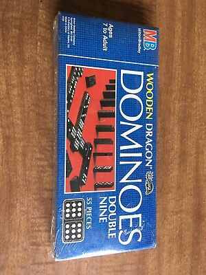 Vintage 1983 Wooden Dragon Dominoes Double Nine Milton Bradley MB Brand New