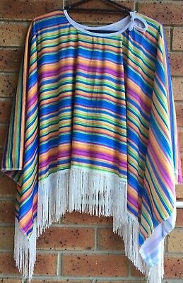 Mens Rainbow Mexican Poncho Wild West Cow Boy Adult Bandit  Dress Up Costume