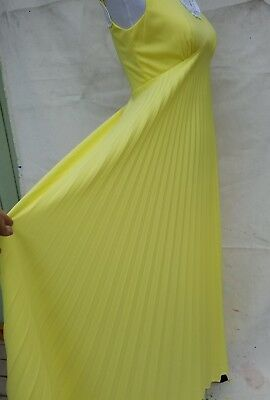 VINTAGE 70S YELLOW KNIFE PLEAT Sleeveless DRESS White Trim Medium A Line  Dancing f9e50fb7c